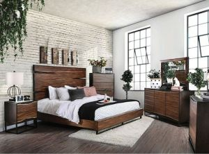 Fulton Rustic Bedroom Collection - Burned Wood Two Tone Design