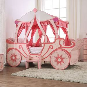 Arianna Carriage Twin Bed - High Gloss Pink