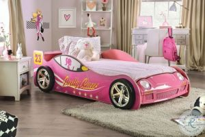 Velostra Twin Bed - Pink Race Car Design