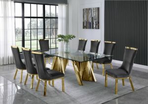 Helicon Dining Collection - Gold Stainless Steel Base - 2 Chair Colors