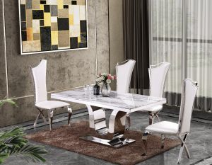 Olympus Marble Top Dining Collection - 3 Chair Colors