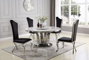Olympus 5 Pc Round Marble Dining Collection w/Lazy Susan