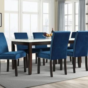 7 Pc Dining Collection - Faux Marble Blue Velvet
