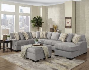 Derby 3 Pc Sectional - Silver or Gull Fabric