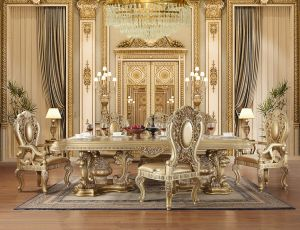 Seville Gold Finish Dining Collection - Decorative Carvings