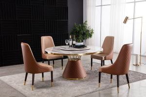 Danielle Faux Marble Dining Table Collection
