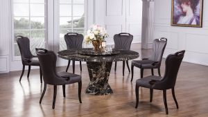 Suzanne Faux Marble Dining Collection - Lazy Susan Included
