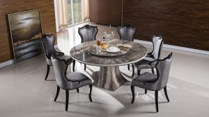 Luwana Faux Marble Top Dining Collection - Lazy Susan Included