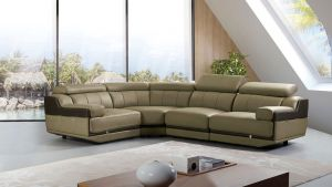Olive Gray Italian 4 Pc Top Grain Leather Sectional