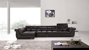 Lennox 3 Pc Genuine Leather Sectional - Dark Brown or Cream