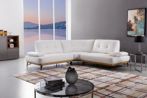 White w/Yellow Trim Sectional - Top Grain Leather