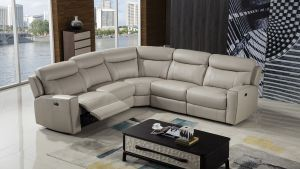 Erin 5 Pc Power Sectional - Light Grey Cow Hide Leather