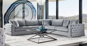 Envy 3 Pc Sectional - Platinum Grey Velvet