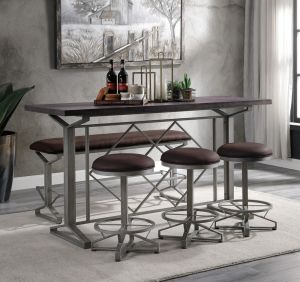 Evangeline Dining Collection - Salvaged Brown Finish