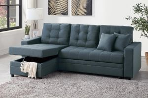 Blue-Grey Convertible Sectional ~ Pull Out Sleeper
