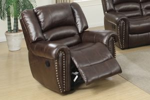 Brown Recliner w/Nailhead Trim