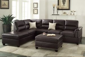 Andrew 3 Pc Sectional Espresso - Nailhead Trim