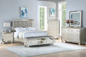 Bower 4 Pc Silver Finish Bedroom Collection