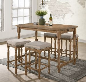 Farsiris 5 Pc Dining Collection - Weathered Oak Finish