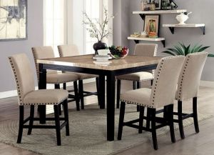Dodson 7 Pc Dining Set - Faux Marble Table Top