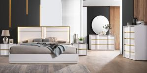 Havana 5 Pc Bedroom Collection - Gold Metal & Lacquer