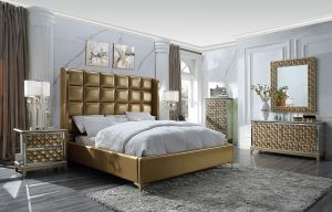 Minerva 5 Pc King Bedroom Collection - Antique Gold