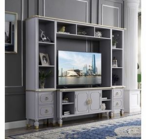 House Marchese Entertainment Center - Pearl Gray Finish