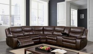 Pollux Sectional Collection - Brown Leatherette