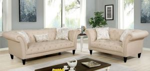 Louella Sofa Collection - Beige or Grey Glam
