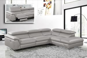 Divani Casa Maine - Modern Medium Grey Eco-Leather w/Recliner