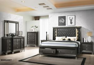 Margaret 4 Pc Bedroom Collection - Metallic Grey