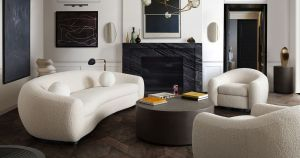 Pascal Sofa Collection - Bone or Charcoal Boucle Textured Fabric