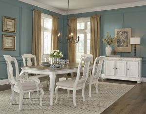 Lafayette Dining Collection - White Distressed Finish