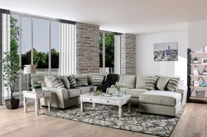 Colstrip Sectional Collection - Beige Burlap Weave