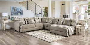 Angelia Over Sized Sectional - Gray Chenille