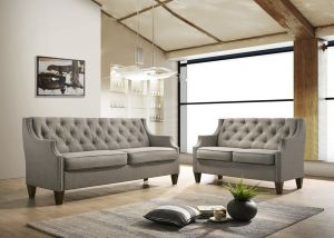 Tufted Sofa & Loveseat - Grey or Beige