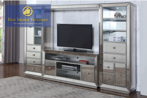 Vogue Mirrored Entertainment Center - Silver Finish