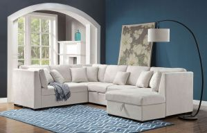 Tryna Beige U Shape Sectional with Pull Out Sleeper