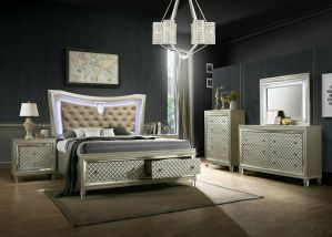Venetian 3 Pc Bedroom Collection - Champagne Finish