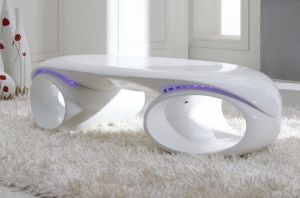 Tron Glossy White Coffee Table w/LED Lights