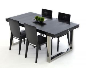 Modern 7 Pc Dining Collection - Black Crocodile Lacquer Top