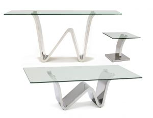 Waverly Occasional Table Collection - Stainless Steel & Glass