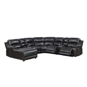William 7 Pc Power Motion Sectional - Brown Leather Gel