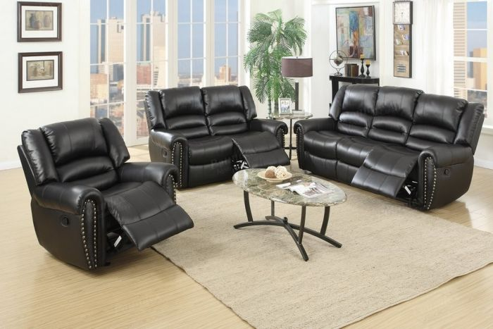 F6749 Black Bonded Leather Motion Sofa Set - Poundex Furniture